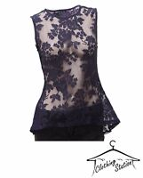 LADIES LACE NAVY PARTY TOP. CODE- W 02