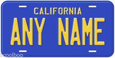 Blue California Any Name Aluminum Novelty Car License Plate