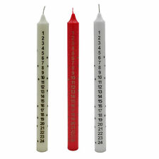 Christmas Countdown Advent Candle - Tapered - Star detail - 25cm - Choose Colour