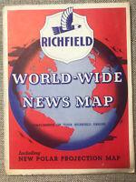 VTG RICHFIELD Gas World-Wide News Map & Polar Projection 1943 World War 2