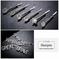Women Girls Crystal Rhinestone Words Hairpin Hair Barrette Hair Clips Headwear