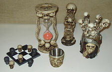 GRIM REAPER SKULL & SKELETON collectible decor items - hourglass, pens, cup