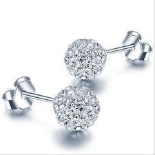 925 Silver Crystal Ball Stud Earrings Women's Lady Fashion Jewelry Xmas Gift