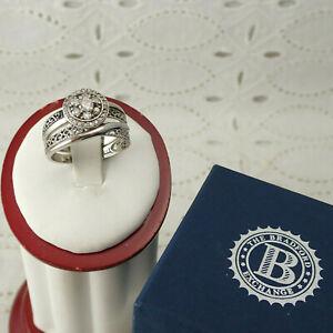 Bradford Exchange Loves Embrace Diamond Sterling Platinum Bridal Ring Size 8 Set