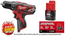 """NEW MILWAUKEE 2407-20 M12 3/8""""  DRILL DRIVER & 2.0 AMP/HR LITHIUM-ION BATTERY"""