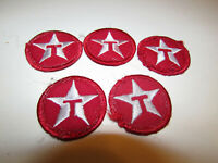 5 VINTAGE TEXACO DRIVER GAS FUEL MOTOR OIL UNIFORM PATCH SIGN RED CIRCLE T STAR
