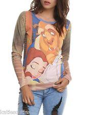 Disney Beauty and the Beast Belle Hug Pullover Juniors Top Crew Shirt Sweatshirt