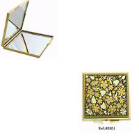 Damascene Gold Compact Mirror Flower Design by Midas of Toledo Spain