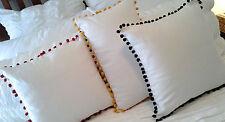 Pom Pom Cushion Cover: Cream Cotton Black Red Bird Cage, Decor Pillow Case Throw