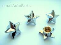 (4) Custom Chrome Star Tire/Wheel Stem Air Valve CAPS kit set car truck hot rod