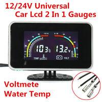 DC 9-36V Car 2 in 1 LCD Digital Display Voltmeter Gauge / Water Temp Temperature