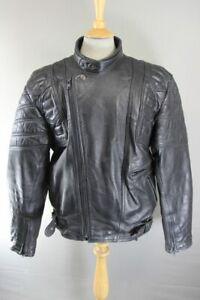 CLASSIC BLACK LEATHER BIKER JACKET 46 INCH/XL