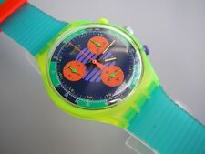 NEO WAVE! Bright Neon Colors CHRONO Swatch with Glow Hands-NIB!