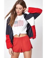 John Galt One Size Fits All Womens Red White Blue Wind Breaker Zip Up Jacket New
