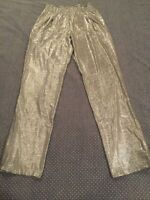 Attitudes By Renee Silver Metallic Stretch Jersey Elastic Waist Pants Size Small