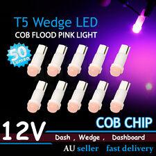 10x Purple Pink T5 LED With COB Lens SMD Car Dashboard Gauge Flood Wedge Bulbs