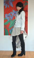 Ann Demeulemeester SS 2002 White Painted Leather Jacket FR 38