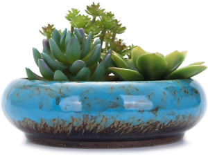 "7.3"" Round Succulent Pot Ceramic w/ Drainage Hole Bonsai Blue Plant Not Included"