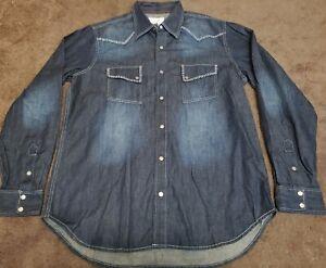 RYAN MICHAEL Men's Long Sleeve SILK Cotton Denim Snap Western Shirt L New!!!
