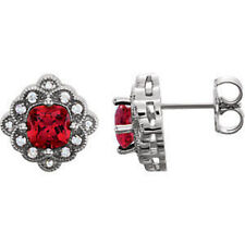 Chatham Created Ruby & 1/10 CTW Diamond Earrings In Platinum
