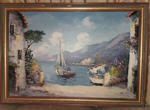"Gorgeous 36x24"" Giovanni Camprio vintage Original Oil Painting Canvas Signed"