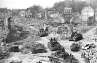 WW2 Picture Photo France 1944 US After battle Tanks Sherman at ruins  3559