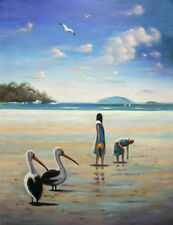 Original painting BEACHCOMBERS and PELICANS Peter Costa – 78x103cm Stretched