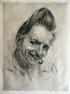 """Emil Fuchs (1886-1929) """"Ceclia Duczi"""" Original Etching Signed"""