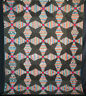 Antique 1860s Pineapple Windmill Blades Log Cabin Quilt - Hand Stitched 88 x 72
