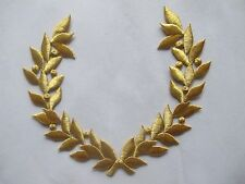 """#2587 7-1/4"""" Golden Olive Branch Embroidery Iron On Applique Patch"""