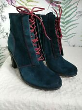 """CLARKS SIZE 6.5 """"KESWICK STONE"""" RRP £70 BLUE GENUINE LEATHER ANKLE BOOTS HEELS"""