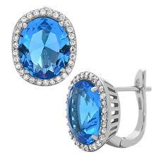 Cz Earrings Blue Wedding Earrings Blue Topaz Earrings .925 Sterling Silver