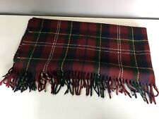 Faribault Woolen Mills Red Plaid Fringed Lap Throw Blanket Made in USA