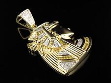 Mens 10K Yellow Gold Egyptian Queen Nefertiti Real Diamond Charm Pendant 0.75ct