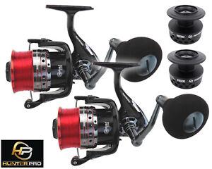 2 x Surf Beach Casting Sea Fishing Reel & Spare Spool. Hunter Pro V8000 4+1 BB