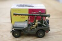 Vintage Dinky Jeep  Avec Cannon French Boxed 829 Boxed with rear mounted cannon