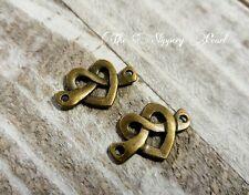 Heart Links Connectors Charms Pendants Pretzel Heart Antiqued Bronze 10 pieces