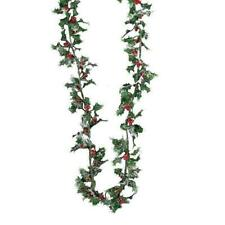 Kurt Adler 9 Ft Mini Holly and Bead Berry Christmas Garland Holiday Decor