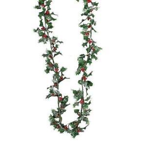 Kurt Adler 9 Ft Mini Holly and Bead Berry Christmas Garland Holiday Decor