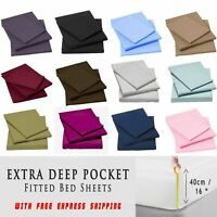 "Extra Deep 16"" 40CM Full Fitted Bed Sheets Single Double King Super King 4FTSize"