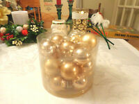 Christmas 20 gold balls small feather tree ornaments shiny satin pearl