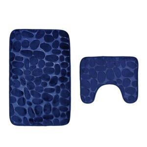 2 pcs/Set Non-slip Suction Grip Bathroom Mat Toilet Rug Bath Carpet Soft Doormat