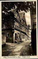 Linz am Rhein alte Postkarte AK 1936 Mühlenstraße mit Fachwerkhäusern Fachwerk