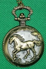 """Pocket Watch """"Horse"""" Cut out on Lid with Chain, Bronze Looks! Quartz"""