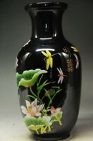 Chinese Black and elegant porcelain old hand painted lotus vase