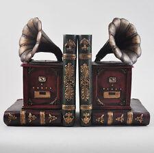 Old Grammophone Bookends Music Shelf Organiser CD DVD Art Deco Study NEW 12506