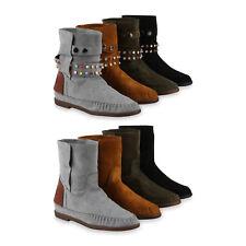 Damen Stiefeletten Schlupfstiefel Zierperlen Ethno Mokassin-Naht 817716 Schuhe