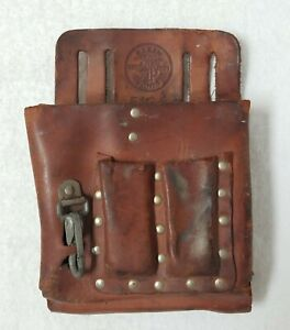 Klein Tools 5164 Leather Electricians Snap Lineman Tool Pouch With Leather Belt