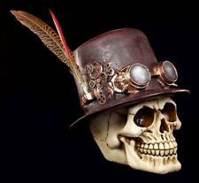 Steampunk Calavera con sombrero y Pluma - Figura Calavera Calavera Decoración