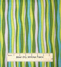Christmas Stripe Green Aqua #3297 Cotton Fabric Benartex Ho Ho Let It Snow YARD